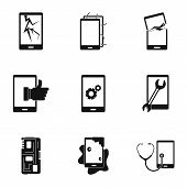 Broken Phones Fix Icon Set. Simple Style Set Of 9 Broken Phones Fix Vector Icons For Web Isolated On poster
