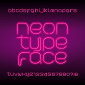 Neon Tube Alphabet Font. Neon Color Lowercase Letters, Numbers And Symbols. Stock Vector Typeset For poster
