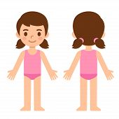 Cute Cartoon Little Girl In Underwear, Front And Back, Body Part Anatomy Template. Isolated Vector I poster