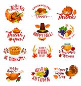 Happy Thanksgiving Day Icons For Autumn Holiday Greeting Card. Fall Season Harvest Pumpkin, Turkey A poster