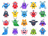 Cute Cartoon Monsters. Comic Halloween Joyful Monster Characters. Funny Devil Face, Ugly Silly Alien poster