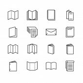 Brochure Flat Line Icons. Business Identity Illustrations - Letterhead, Booklet, Flyer, Leaflet, Cor poster