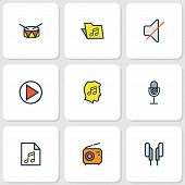 Audio Icons Colored Line Set With Earphones, Microphone, Folder And Other Template  Elements. Isolat poster