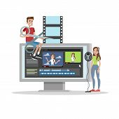 Video Editing. People Create Video Using Digital Editor And Record Voice. Isolated Vector Flat Illus poster