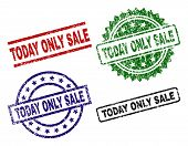 Today Only Sale Seal Stamps With Corroded Style. Black, Green, Red, Blue Vector Rubber Prints Of Tod poster