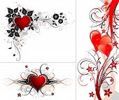 picture of valentine love  - Valentines Day background with Hearts flower and wave element for design illustration - JPG