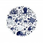 Cartoon Sea Animals In Circle Shape. Cute Underwater Creatures: Whale, Octopus, Jellyfish, Starfish  poster