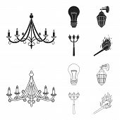Led Light, Street Lamp, Match.light Source Set Collection Icons In Black, Outline Style Vector Symbo poster