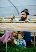 Retro Farm. Retro Farm With Happy Family. Gardener Family Work In Retro Farm. Retro Farm With Colorf poster