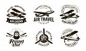 Aircraft, Airplane Logo Or Label. Flying Club, Airlines Icon Set. Typographic Design Vector poster
