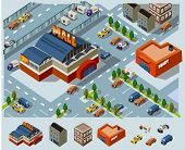image of isometric  - Mall and Grocery center - JPG