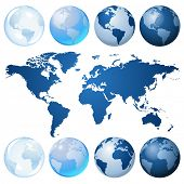 stock photo of world-globe  - Blue globe kit and map - JPG