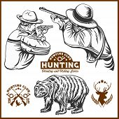 Hunters And Bear - Vector Isolated Illustration Plus Hunters Club Logo On White poster