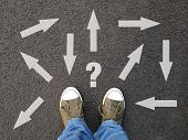 Feet Standing On Asphalt With Multitude Of Arrows In Different Directions And Question Mark, Confusi poster