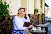 Enjoy My Coffee. Mug Of Good Coffee In Morning Gives Me Energy Charge. Woman Happy Smiling Face Have poster