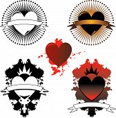 image of serial killer  - Three stylized tattoo designs featuring hearts in color and black  - JPG