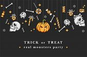 Vector Illustartion Set Of Linear Icons For Happy Halloween. Badges And Labels For Party And Fair. T poster