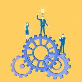 Business Flat Design Teamwork Vector With A Businessman Inventing An Idea And Standing On Cogwheels  poster