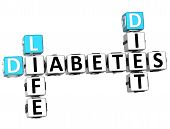 foto of diabetes symptoms  - 3D Diabetes Life Diet Crossword on white background - JPG