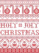 Christmas Pattern Holy Joly Christmas Vector Seamless Pattern Inspired By Nordic Culture Festive Win poster