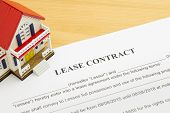 Home Lease Contract Or House Lease Contract Agreement Left Frame. Concept About Home Or House Rental poster