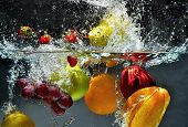 Fruit Splashing on Water