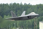 picture of f22  - Fighter F-22 Raptor In Airshow ON TAKE OFF - Arctic Thunder airshow 2008 - Anchorage - Alaska - USA