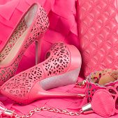 stock photo of wench  - Beautiful wedding shoes and accessories in pink - JPG