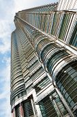 picture of petronas towers  - A beautiful angle looking up the side of the Petronas Towers Menora Kuala Lumpur in Malaysia - JPG