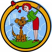picture of dog-walker  - Dog Walker or Pet Sitter Cartoon Clip Art with City Park Background - JPG