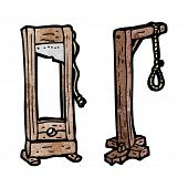 stock photo of guillotine  - cartoon guillotine and gaols - JPG