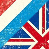 Постер, плакат: Люксембург и Великобритания гранж флаг Этот флаг представляет связь между Великобританией и Люксембург