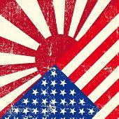 Постер, плакат: США и Япония войны гранж флаг