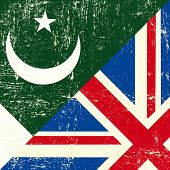 stock photo of pakistani flag  - English and Pakistani grunge Flag - JPG