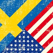 stock photo of oblique  - USA and swedish grunge Flag - JPG