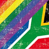 stock photo of gay flag  - South africa and gay grunge Flag - JPG