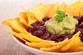 picture of nachos  - plate of nachos with guacamole - JPG