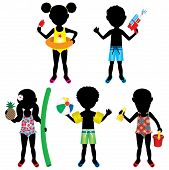 foto of floaties  - Vector Illustration of 5 different summer kids dressed for beach or pool - JPG