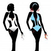 picture of monokini  - Vector illustration of two women silhouettes in monokini swimsuits - JPG