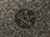 picture of pentagram  - pentagram symbol on stone background  - JPG