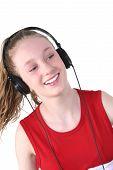 Cute Teen Girl Wearing Headphones poster