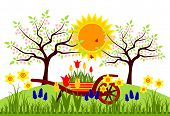 picture of hand-barrow  - vector bed of spring flowers - JPG