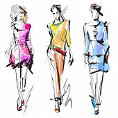 stock photo of diva  - Artistic Fashion Sketches - JPG