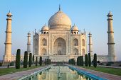 stock photo of indian blue  - View of Taj Mahal - JPG