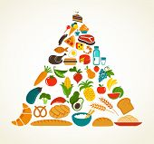 foto of food pyramid  - Health food pyramid - JPG