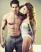 stock photo of men underwear  - Sexy couple posing - JPG