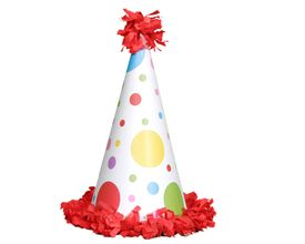 stock photo of birthday hat  - red polka dot birthday party hat isolated on white - JPG