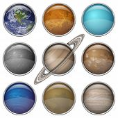 foto of earth mars jupiter saturn uranus  - Set of isolated space buttons with planets of Solar System  - JPG