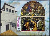 A stamp printed in Equatorial Guinea shows The Burial of Count Orgaz by El Greco