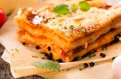 stock photo of lasagna  - Juicy homemade lasagna with beef meat - JPG